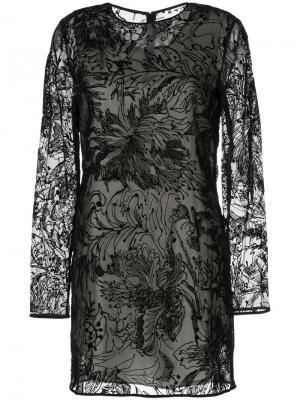 Платье с длинными рукавами и узором Goen.J. Цвет: чёрный