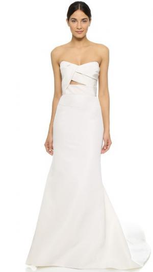 Вечернее платье Adelaide с бюстье без бретелек J. Mendel. Цвет: золотой