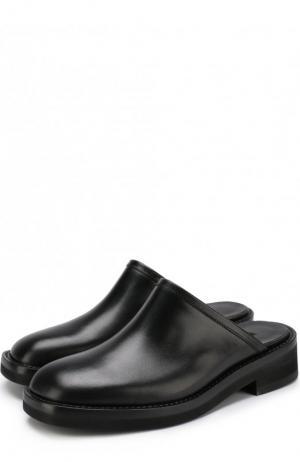 Кожаные сабо на массивном каблуке Ann Demeulemeester. Цвет: черный