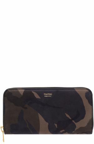 Кожаное портмоне на молнии с отделениями для кредитных карт Tom Ford. Цвет: оливковый
