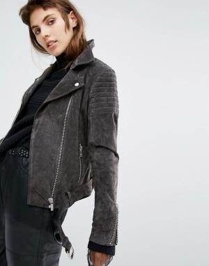 Goosecraft Замшевая байкерская куртка со стеганой отделкой. Цвет: серый