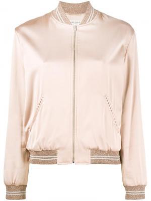 Куртка-бомбер с отделкой Love Saint Laurent. Цвет: розовый и фиолетовый