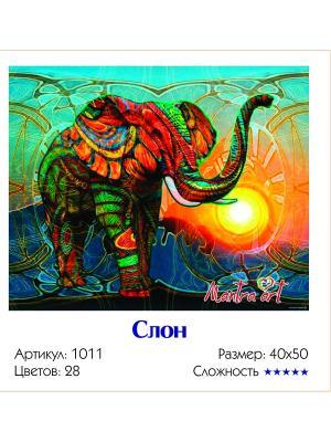 Живопись на холсте Слон + диск в подарок MantraArt. Цвет: белый