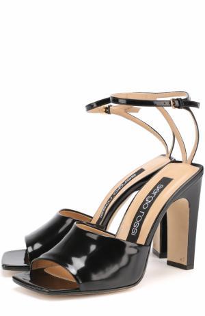 Кожаные босоножки с ремешком на щиколотке Sergio Rossi. Цвет: черный