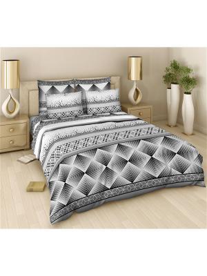 Комплект постельного белья из поплина Евро Василиса. Цвет: серый, белый