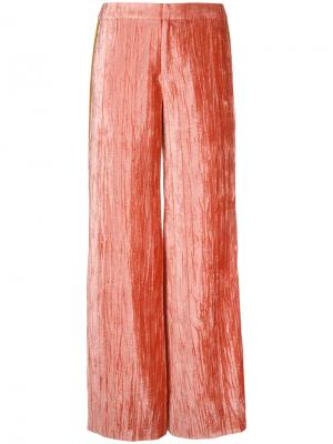 Бархатные брюки с полосками Irene. Цвет: розовый и фиолетовый