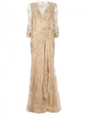 Длинное кружевное платье с украшениями Zuhair Murad. Цвет: металлический