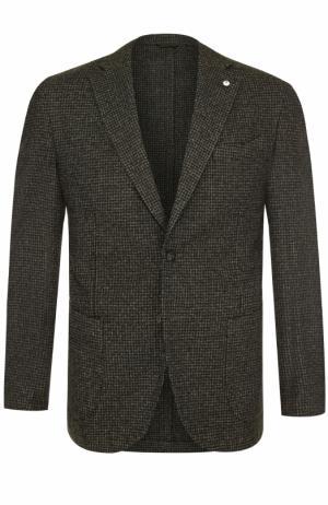 Однобортный пиджак из смеси шерсти и хлопка L.B.M. 1911. Цвет: зеленый
