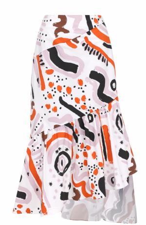 Юбка-миди асимметричного кроя с принтом Isa Arfen. Цвет: разноцветный