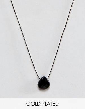 Dogeared Шелковое ожерелье с ониксом Briolette. Цвет: черный