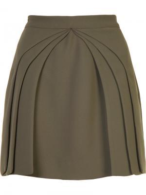Плиссированное многослойное мини-платье Brandon Maxwell. Цвет: зелёный