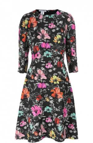 Приталенное платье с цветочным принтом и круглым вырезом Oscar de la Renta. Цвет: разноцветный