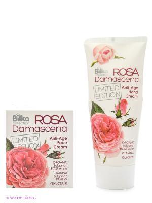 Набор Rose Damascene крем для лица anti-age+крем рук anti-age BILKA. Цвет: белый