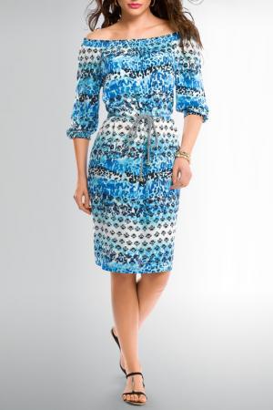 Повседневное платье с открытыми плечами Pelican. Цвет: голубой