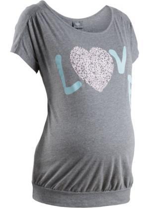 Мода для беременных: футболка с принтом сердечка (серый меланж) bonprix. Цвет: серый меланж