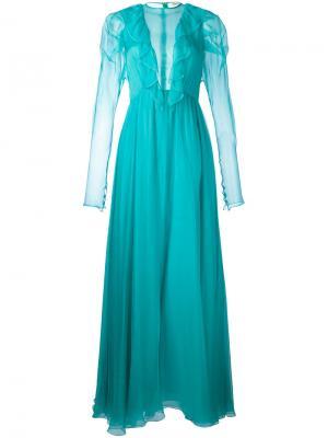 Sheer ruffled maxi dress Daniele Carlotta. Цвет: синий