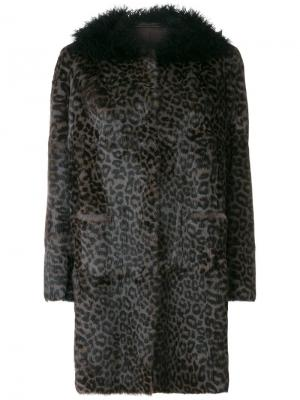 Пальто с леопардовым узором Salvatore Santoro. Цвет: серый
