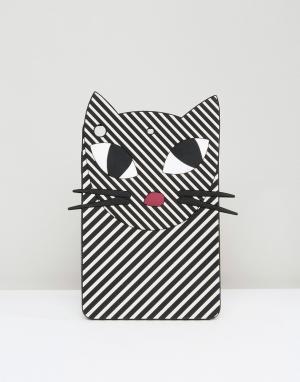 Lulu Guinness Полосатый чехол для iPad Mini в виде кошки. Цвет: мульти