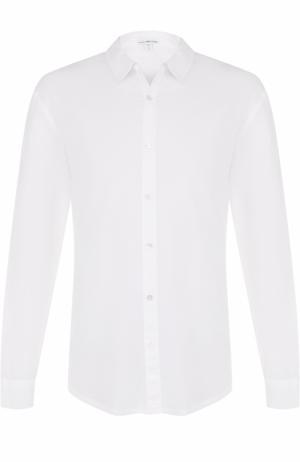 Хлопковая рубашка с воротником кент James Perse. Цвет: белый
