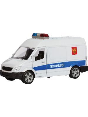 Машина GERMANY PANEL VAN с вертолётом, полиция 1:36 AUTOTIME. Цвет: белый