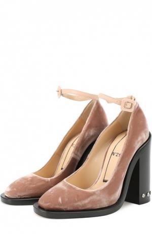 Бархатные туфли на каблуке с заклепками No. 21. Цвет: розовый