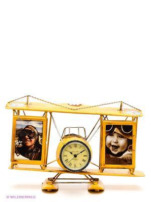 Фоторамки с подставкой для ручек Часы-Аэроплан 2фото 6х9см PLATINUM quality. Цвет: желтый