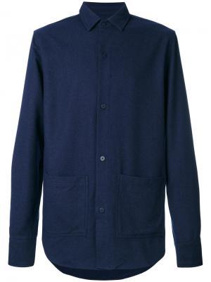 Приталенная джинсовая рубашка Han Kjøbenhavn. Цвет: синий