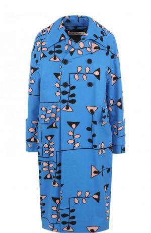 Двубортное пальто свободного кроя с принтом Marni. Цвет: синий