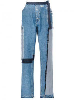 Широкие джинсы с заплатками Tome. Цвет: синий