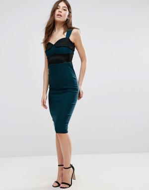 Vesper Платье-футляр с кружевной вставкой. Цвет: зеленый