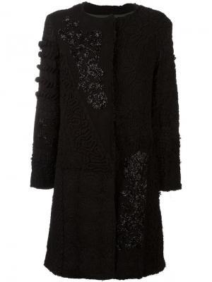 Пальто с отделкой кружевом и стеклярусом By Walid. Цвет: чёрный