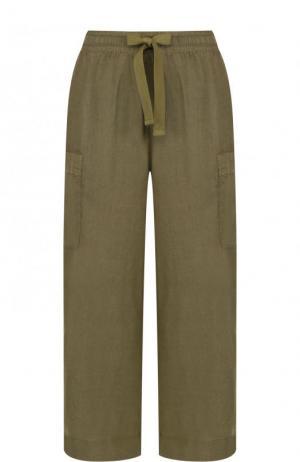 Укороченные льняные брюки с эластичным поясом Deha. Цвет: хаки