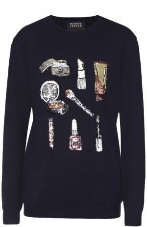 Пуловер прямого кроя с вышивкой пайетками Markus Lupfer. Цвет: темно-синий