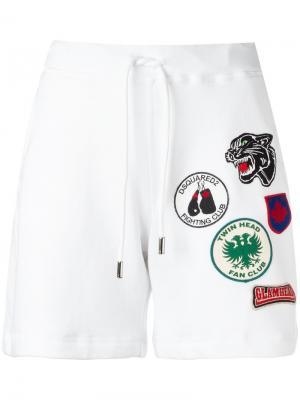 Спортивные шорты с нашивками Dsquared2. Цвет: белый
