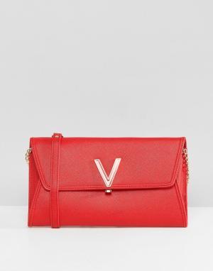 Valentino by Mario Красный клатч с клапаном. Цвет: красный