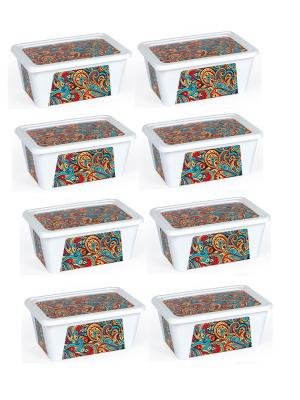 Комплект контейнеров из 8 шт. ПЕЙСЛИ прямоугольный с декором, 0,4 л. Полимербыт. Цвет: красный