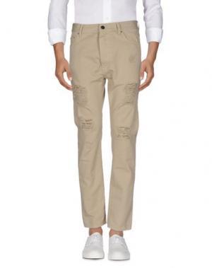 Джинсовые брюки PALM ANGELS. Цвет: песочный