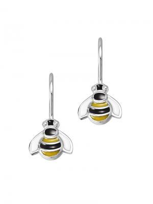 Детские сережки с эмалью Пчелка KU&KU. Цвет: черный, желтый, серебристый