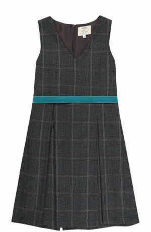 Шерстяное платье в клетку с защипами и поясом Caf. Цвет: серый