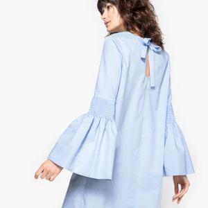 Платье хлопковое со сборками на рукавах La Redoute Collections. Цвет: небесно-голубой