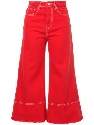 Укороченные джинсы клеш MSGM. Цвет: красный