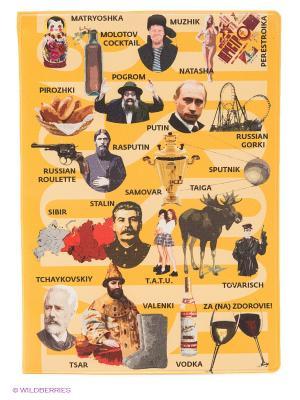 Обложка для паспорта Русский словарь (цветная) Kawaii Factory. Цвет: желтый
