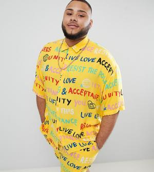 ASOS Комбинируемая рубашка с принтом DESIGN x glaad& Plus. Цвет: желтый