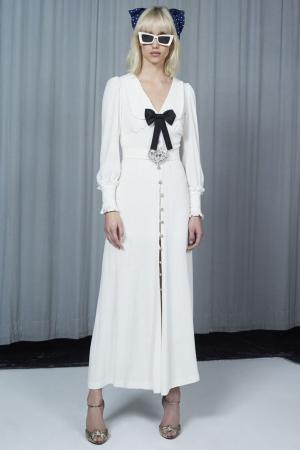 Платье с контрастным бантом Alessandra Rich. Цвет: белый