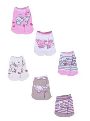 Носки детские,комплект 6шт Malerba. Цвет: бежевый, розовый
