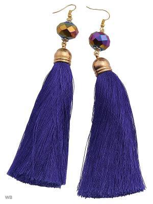 Серьги-кисти ACCENT jewelry. Цвет: фиолетовый, желтый