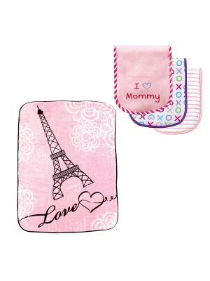 Комплекты Плед, 1 шт., + Салфетки для кормления, 3 шт. Luvable Friends. Цвет: черный, розовый