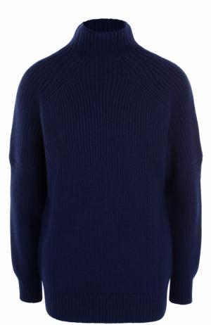 Шерстяной свитер свободного кроя Victoria Beckham. Цвет: темно-синий
