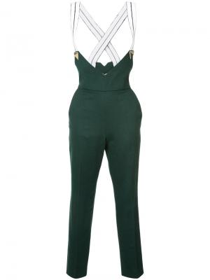 Suspender cropped trousers Vionnet. Цвет: зелёный
