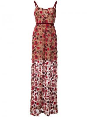 Платье с цветочной вышивкой For Love And Lemons. Цвет: красный